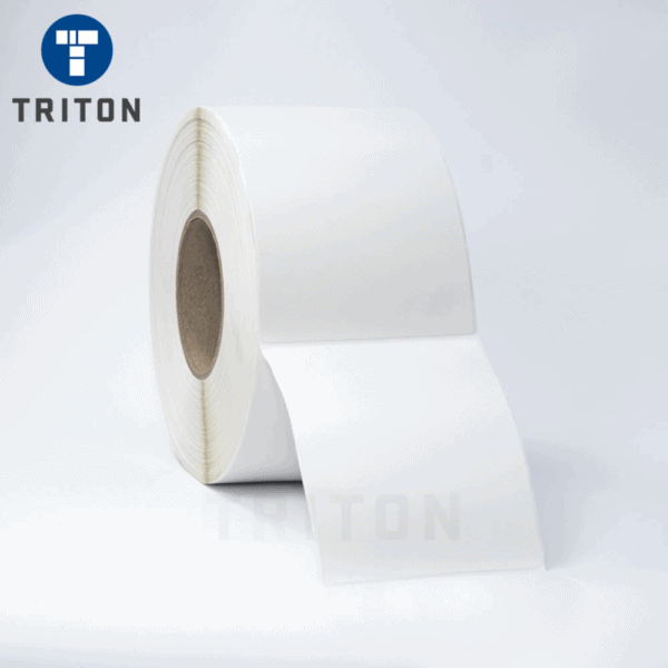 Thermal Carton Label 100x150 White, Security Cut, Varnished
